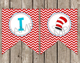 Cat in the Hat I Am One Banner - Dr. Seuss Birthday Party - DIY Printable - Instant Download