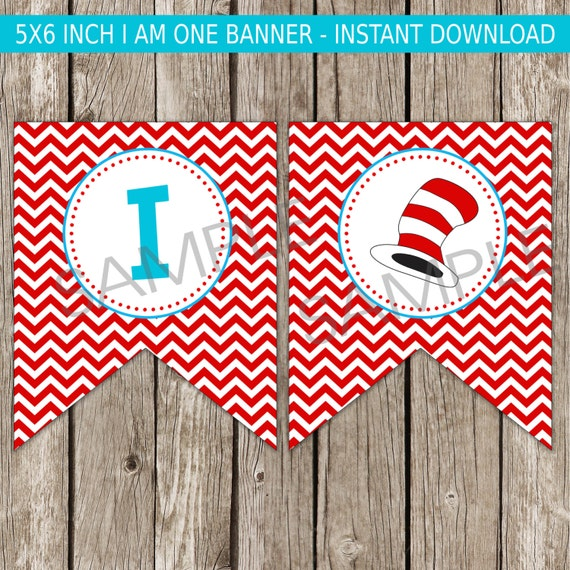 Cat Birthday Banner: Cat In The Hat I Am One Banner Dr. Seuss Birthday Party