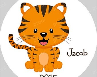 Tiger Personalized Christmas Ornament Acrylic Snowflake or Round