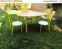 Fabulous 50% Off Sale Bright Yellow Metal Dining Set 1960-70's by Howell California U.S.A.  Metal chairs bentwood Faux Wicker Weave Back  Bu