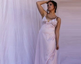 SPRING into 50% Off SALE Pale Pink Long Lingerie Night Gown Spaghetti Strap White Lace Bodice