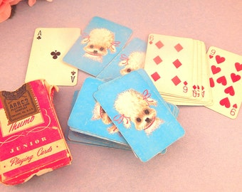 Playing Cards White Poodle Miniature Vintage 1950's Arrco Junior Size Game Incomplete Deck Craft Supply Paper Ephemera