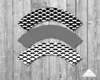Mustache Cupcake Wrappers, Mustache Bash Printable Cupcake Wrapper, Black and White, Printable PDF, Mustache Party, Little Man Baby Shower