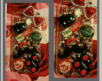 Red black bling bow fashion iPhone 5c case
