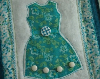 Turquoise summer dress art quilt