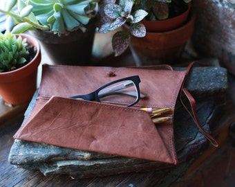 Leather eyeglass pencil case