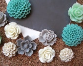 Pretty Thumbtacks, Flower Pushpins, 12 pcs Green, Ivory, Tan, Gray Tacks, Bulletin Board Thumbtacks, Wedding Decor, Housewarming Gift