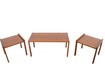 Teak Coffee Table with Two Table Sides Vitze Mobler Danish Modern Nesting Tables