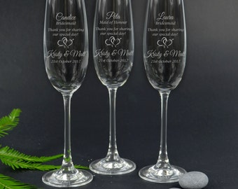 3x Engraved Wedding Champagne Glasses