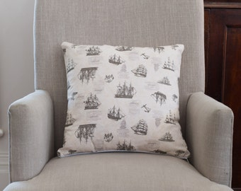 Gorgeous Boys Cushion Cover/Pillow in Vintage Sailing Ship Fabric