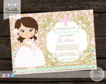 Girl First Holy Communion Invitation, Girl Confirmationn Invite- YOU PRINT