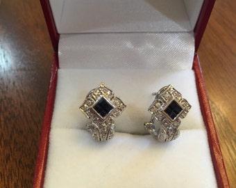 14k white gold lever back sapphire abd diamond earrings FABULOUS !!