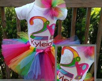 Rainbow Plus Pink Elephant Carnival Circus Inspired Tutu Set