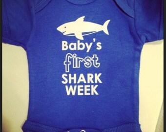 Custom Baby's First Shark Week Onsie- Your Baby's Name