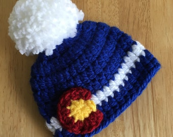 Crochet Chunky Colorado Beanie with oversize pom pom- Newborn and Infant sizesColorado hat, Colorado flag hat, Colorado Hat, Photo prop