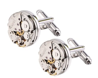 Steampunk Cufflinks with vintage watch movements gears stainless steel