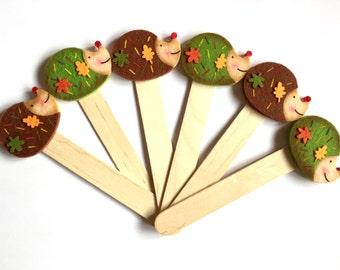 "Bookmark ""LITTLE HEDGEHOG"" - Handmade Bookmarks, Hedgehog, Felt Creatios, Wood, Gift Idea, Favor, Favors"