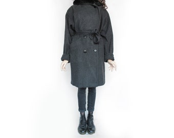 1970s Vintage Dark Grey Thick Loden Longcoat for Women