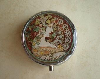 Pill box, Alphonse Mucha art pill box, Art Nouveau,  Pill case, Pill container, Mint case, Candy container,  Alphonse Mucha