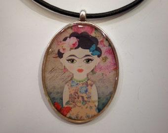 Frida Kahlo pendant - Resin pendant - Art pendant - Art jewelry - Resin pendant - Gift for her
