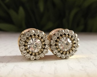 Clear Rhinestone in Gold Plugs, gauges    9/16