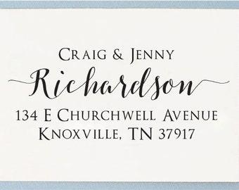 Custom Personalized Self Inking / Handle Mounted Return Address Stamp - Wedding Couple Calligraphy Name - T34