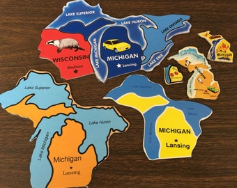6 MICHIGAN puzzle pieces