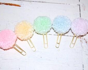 Pastel Pom Pom Paper Clip