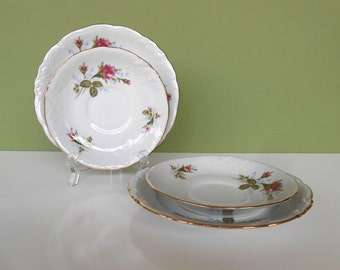 """Vintage """"Moss Rose""""  Saucers & Bread Plates 2 each by Walbrzych Poland"""
