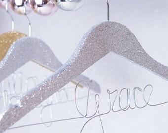 Personalised Glitter Children's Hanger - Glitter Hanger - Christening Hanger - Birthday Hanger - Party Hanger - Princess Hanger - Bridesmaid