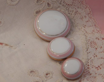 White Glass Buttons with Pink and Gold Bands - Three Sizes