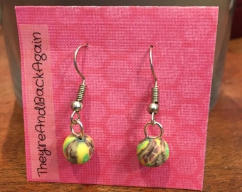 Yellow with Purple&Green Flowers Clay Bead Earrings