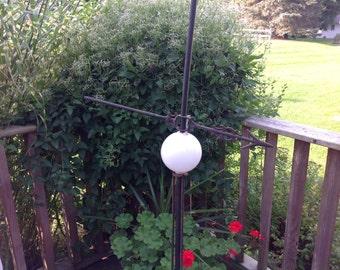 Antique Lightening Rod With Milk Glass Ball / Insulator Weather Vane With Milk Glass Ball