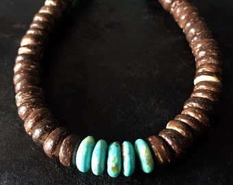 Mens bracelet, Coconut Shell and Turquoise Bracelet, mens jewelry, mens beach bracelet, beach man, coconut bracelet, mens turquoise bracelet