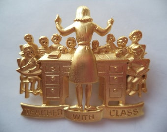 Vintage Signed JJ  Gold pewter Teacher and Class Brooch/Pin