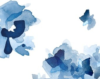 Large Art Print, Blue Wall Art, Large Abstract Watercolor Painting Style, Large Wall Decor, Framed Art, Interior Design, Watercolor Flowers