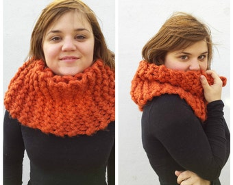 Chunky knit scarf, chunky scarf, orange wool cowl, infinity scarf, knit infinity scarf, chunky infinity scarf, hand knit scarf, wool scarf