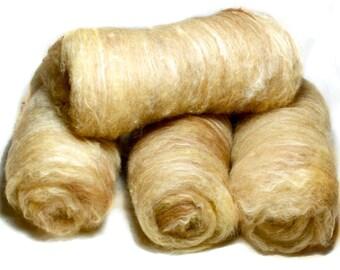 Peanut Brittle – Art Batt – Yellow Brown hand dyed and blended fibre batts – Alpaca fleece, British Kent Romney wool and Soybean fibre (25g)