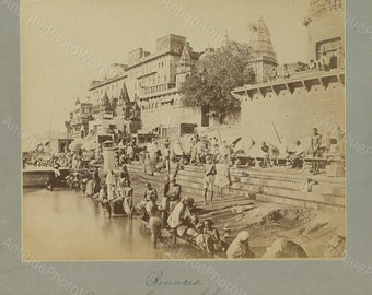 Benares India Ganges river antique photo