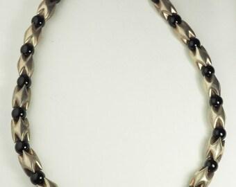 Modern Norwegian Design ? sterling silver onyx vintage designer necklace