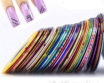 10~100pcs Mix-Color Roll Striping Tape Line film UV-Gel Nail Art Tips decal Sticker Handmade & Nails Decoration