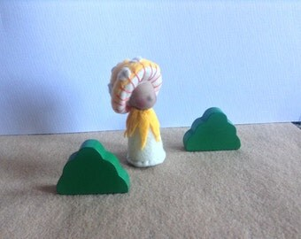 Yellow Toadstool felt peg doll, waldorf inspired, toadstool gnome