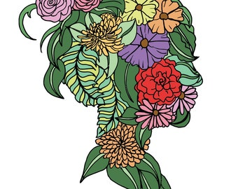 Custom Personalized Silhouette prints- Floral