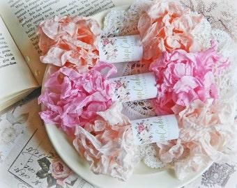 Seam Binding Ribbon / Crinkled Seam Binding / 15 Yards / Shabby Chic Ribbon / Gift Wrapping / Lyric Rose, Siam Pink, Flesh / Gift Wrap