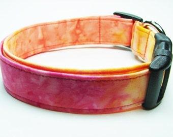 Pink, Yellow & Orange Tye dyed Dog Collar