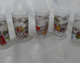 Currier and Ives frosted glass tumblers, drinkware/ barware, mixed drink, iced tea, lemonade glasses set of FIVE glasses