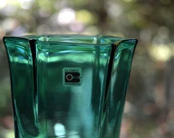Mid Century Vase Blenko Blue Green Flared Top Hand Blown Sticker Attached.