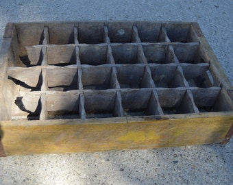 Coke Crate Coca Cola Vintage Wooden Crate Yellow With Dividers #3