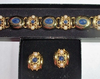 Joan Rivers Bracelet Set - Gold Tone with Blue and White - S1978