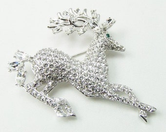 Nolan Miller Pave Crystal Reindeer Brooch -  S1364